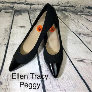 New Ellen Tracy black patent /fabric pump Sz 9.5